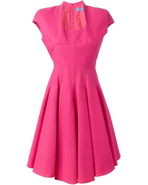 Thierry Mugler | Женское Розовое Облегающее Расклешенное Платье