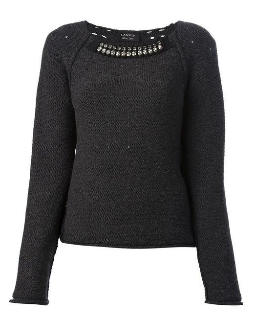 Lanvin | Женский Серый Свитер С Декорированным Воротником