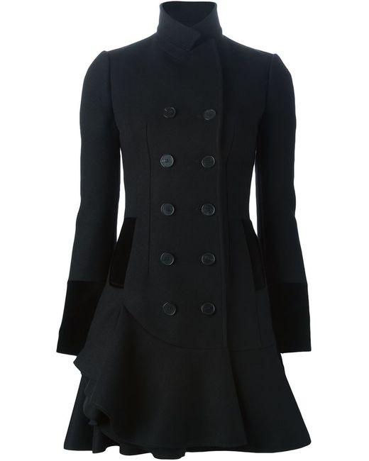 Alexander McQueen | Женское Чёрное Двубортное Пальто С Волнистым Подолом