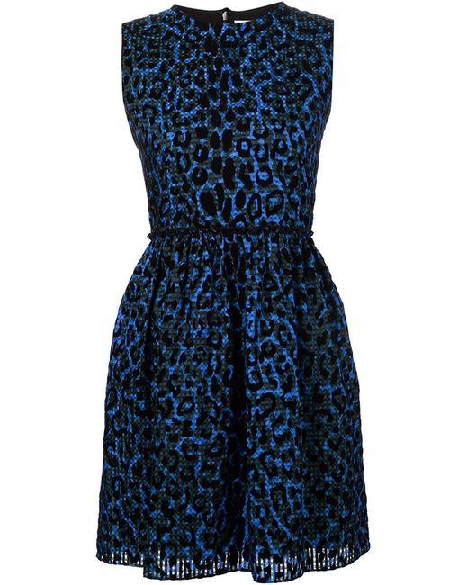 Victoria, Victoria Beckham   Женское Синее Расклешенное Платье С Леопардовым Принтом
