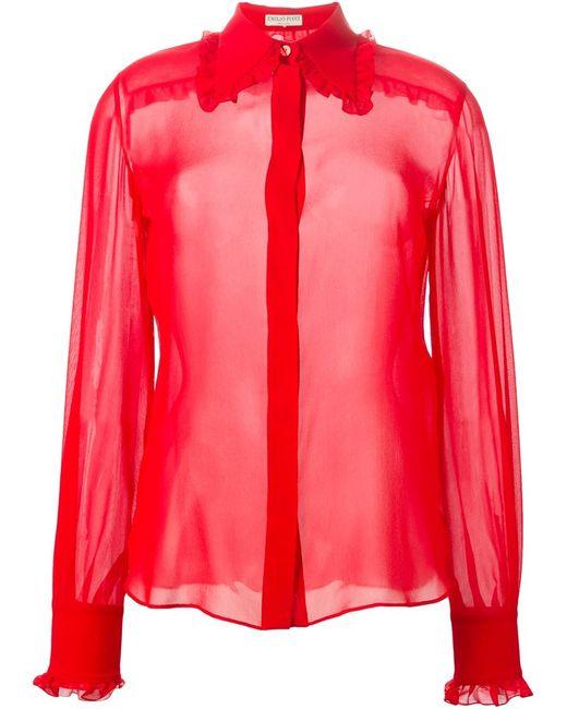 Emilio Pucci | Женская Красная Блузка С Оборками И Жабо