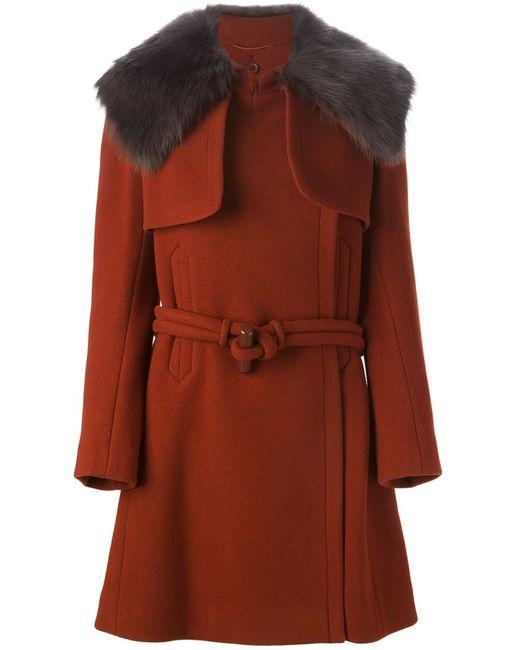 Chloe | Женское Красное Пальто Со Съемным Воротником