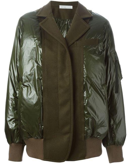 Sacai Luck | Женская Зелёная Дутая Куртка С Панельным Дизайном