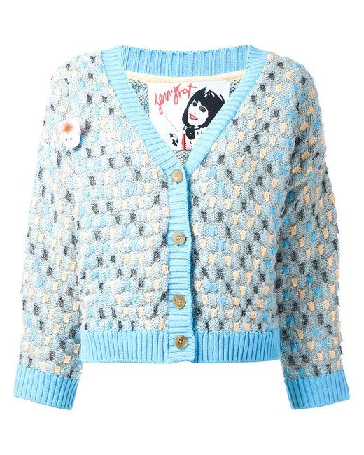 Jenny Fax | Женское Синий Oversized Spot Knit Cardigan Size Medium