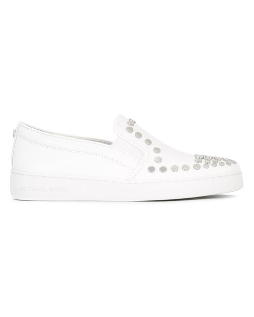 Michael Michael Kors | Женское Белый Studded Slip-On Sneakers 8 Cotton/Leather/Rubber/Metal