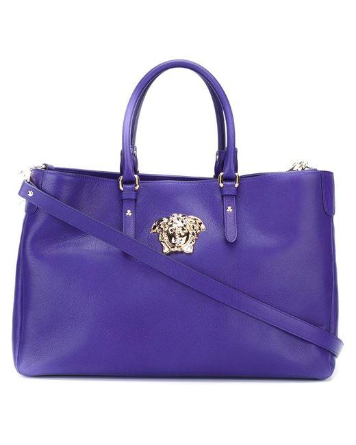 Versace | Женская Синяя Сумка-Тоут С Логотипом Medusa