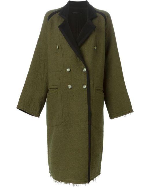 MM6 by Maison Margiela | Женское Зелёное Двухстороннее Пальто Свободного Кроя