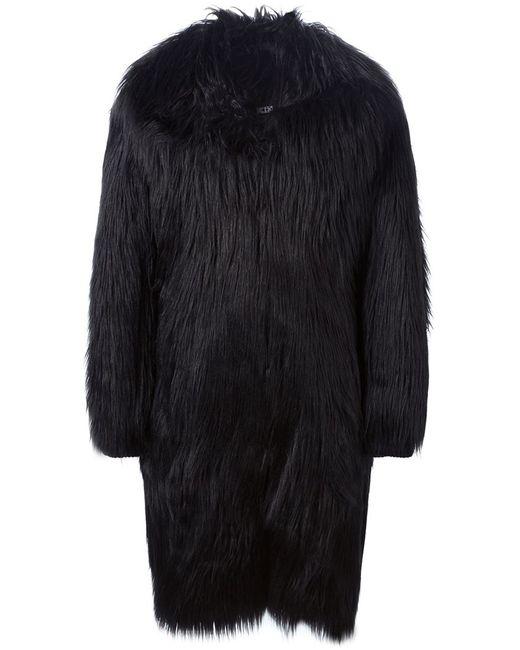 Ktz | Мужское Чёрное Меховое Пальто