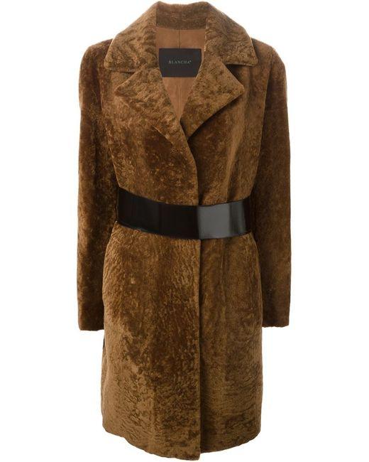 Blancha   Женское Коричневое Пальто С Поясом