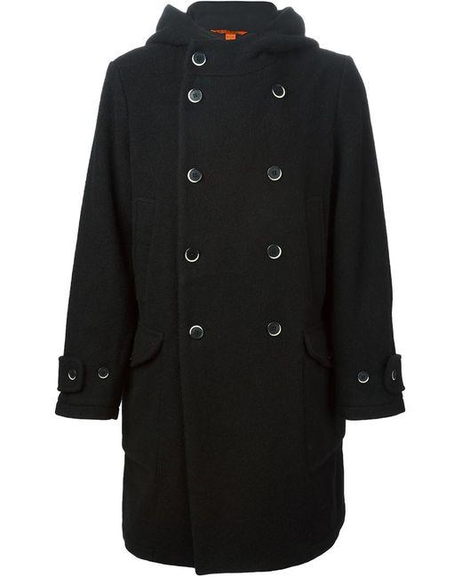Barena | Мужское Чёрное Двубортное Пальто С Капюшоном
