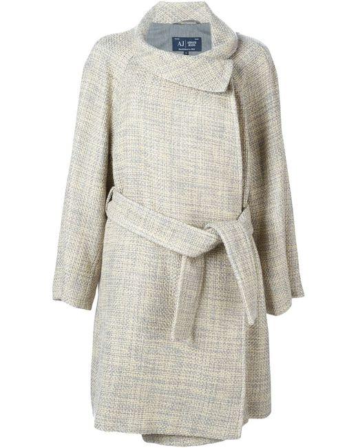 ARMANI JEANS   Женское Nude & Neutrals Belted Tweed Coat