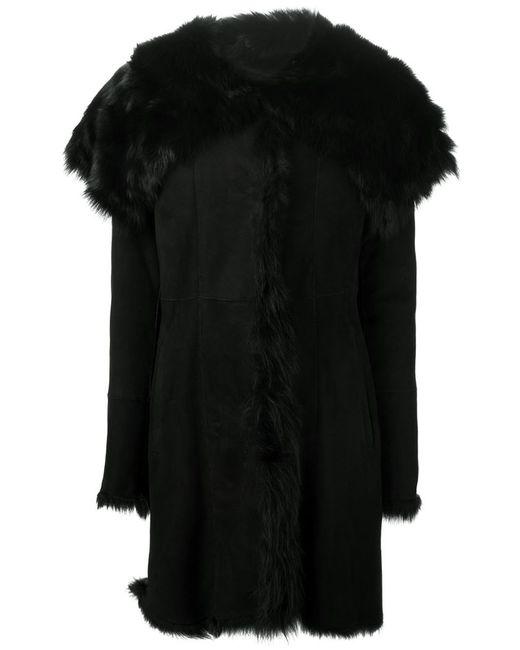 Drome | Женская Чёрная Дубленка С Меховым Воротником