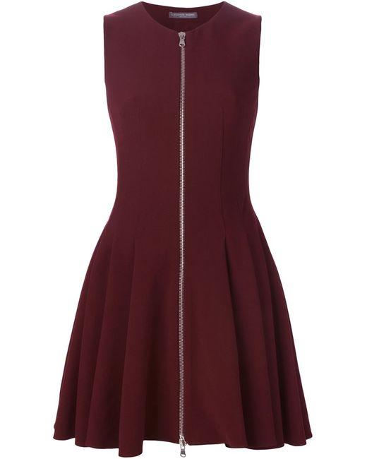 Alexander McQueen   Женское Красное Плиссированное Короткое Платье