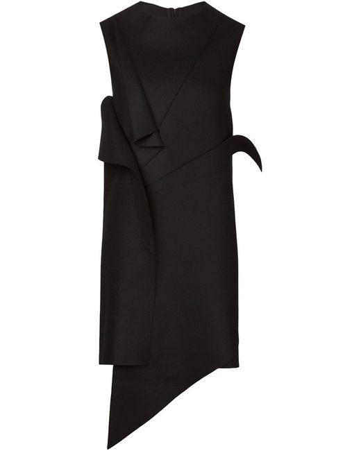 MOOHONG | Женское Чёрное Платье С Панелями Асимметричного Кроя