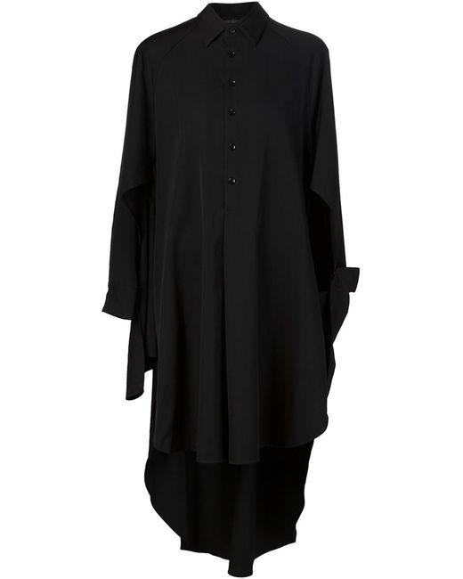Yohji Yamamoto | Женское Чёрное Асимметричное Платье-Рубашка