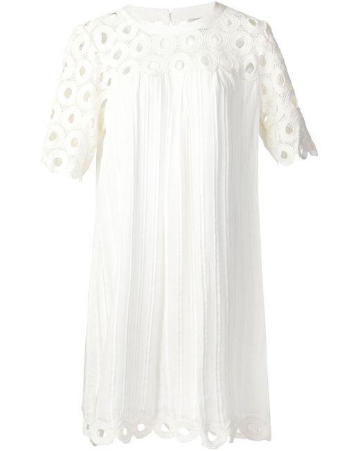 Sea | Женское Белое Связанное Крючком Платье-Шифт