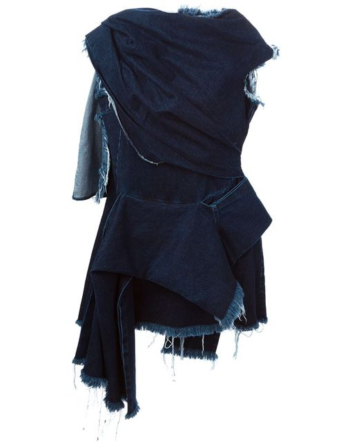 Marques Almeida | Женское Синий Frayed Edge Draped Denim Dress