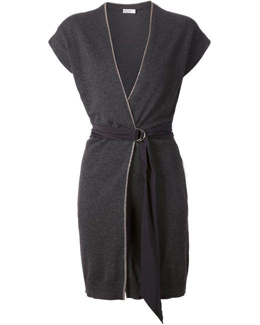 Brunello Cucinelli | Женский Серый Удлиненный Кардиган С Поясом И Короткими Рукавами