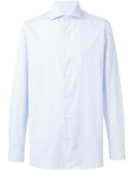BORRELLI | Мужская Синяя Рубашка В Клетку