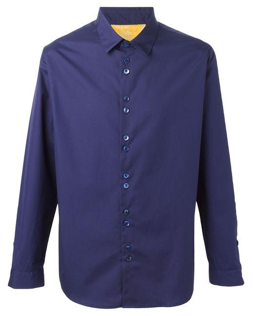 BY WALID   Мужская Синяя Рубашка С Двойными Пуговицами