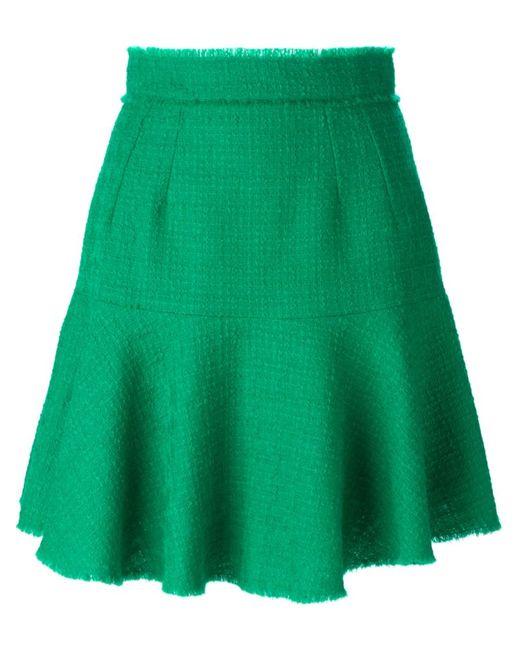 Dolce & Gabbana | Женская Зелёная Твидовая Юбка Мини С Воланом