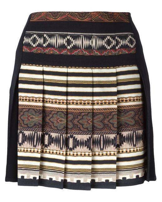 Etro | Женская Чёрная Плиссированная Юбка С Ацтекским Принтом