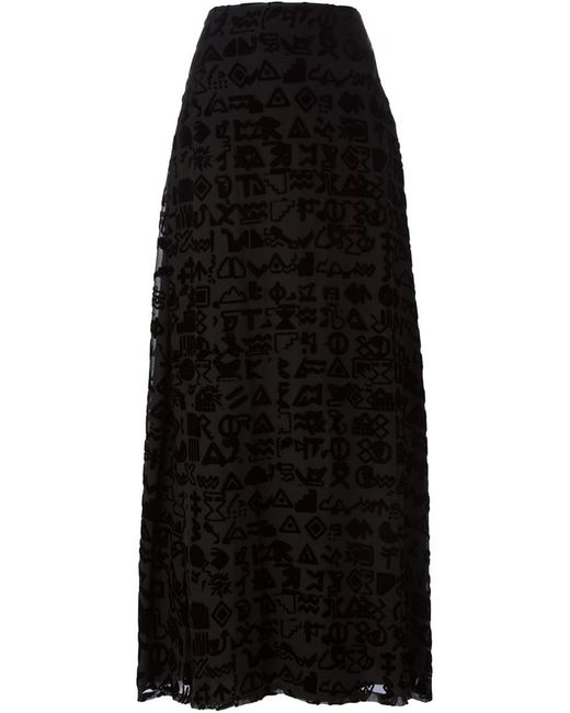 Kenzo | Женская Чёрная Длинная Юбка Symbols