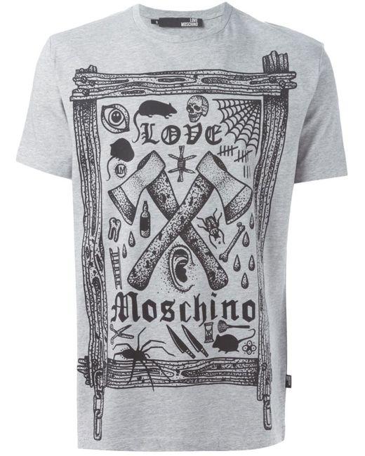 Love Moschino | Мужская Серая Футболка С Принтом Логотипа