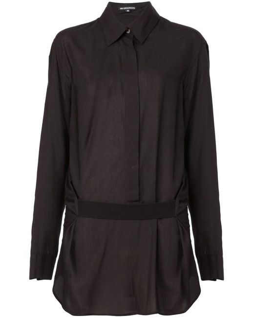 Ann Demeulemeester   Женская Чёрная Драпированная Рубашка С Поясом