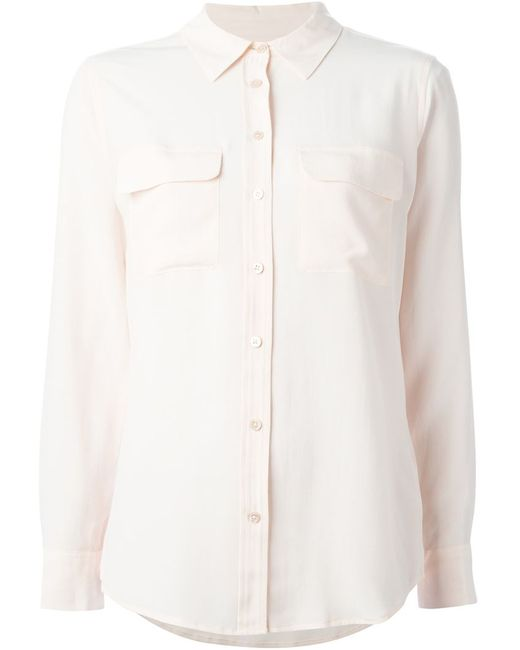 Equipment   Женская Розовая Рубашка С Карманами