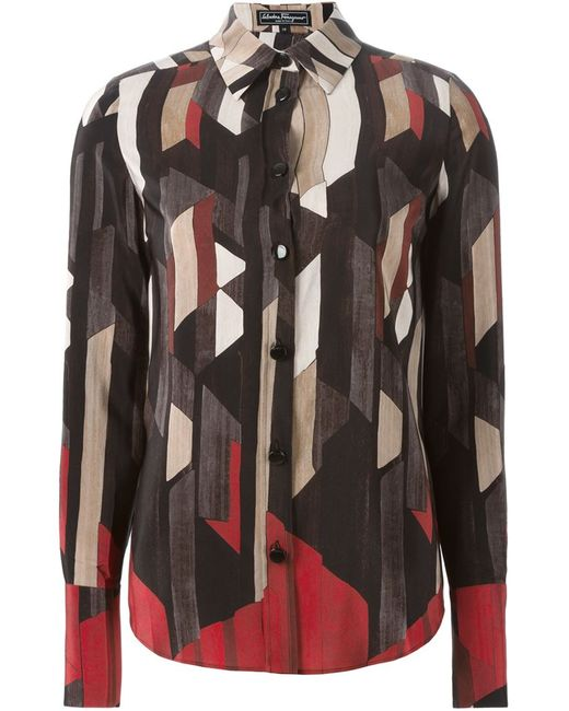 Salvatore Ferragamo | Женская Серая Рубашка С Геометрическим Узором