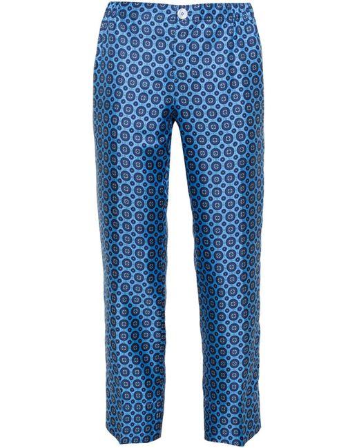 FOR RESTLESS SLEEPERS | Женское Синий Medallion Print Silk Pyjama Trousers