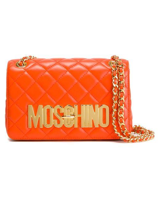 Moschino | Женская Жёлтая Стеганая Сумка Через Плечо С Логотипом