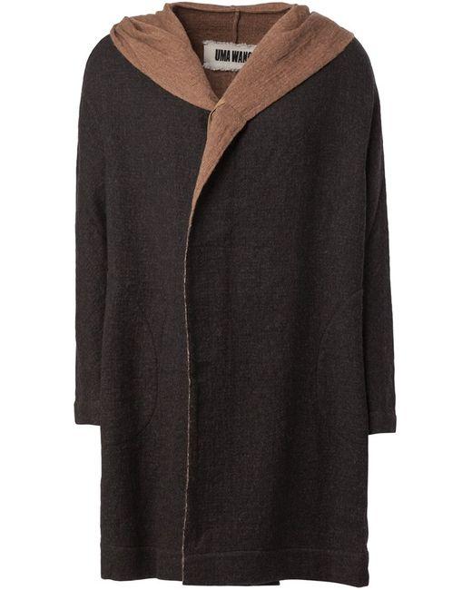 UMA WANG | Мужское Чёрное Пальто С Капюшоном