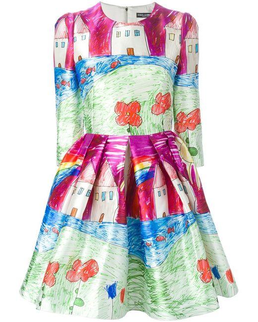 Dolce & Gabbana | Женское Drawings Print Flared Dress
