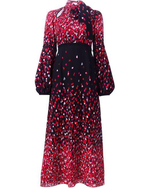 GIAMBA   Женское Чёрное Длинное Платье С Принтом Сердец