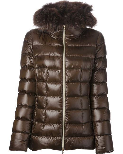Herno | Женская Зелёная Дутая Куртка С Меховым Воротником