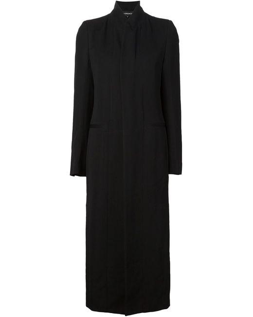 Ann Demeulemeester | Женское Чёрное Удлиненное Пальто С Воротником-Стойкой