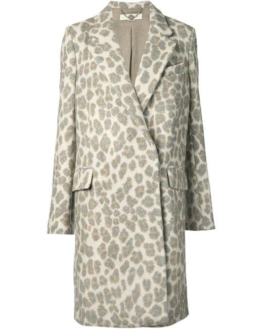 Stella Mccartney   Женское Серый Leopard Print Coat