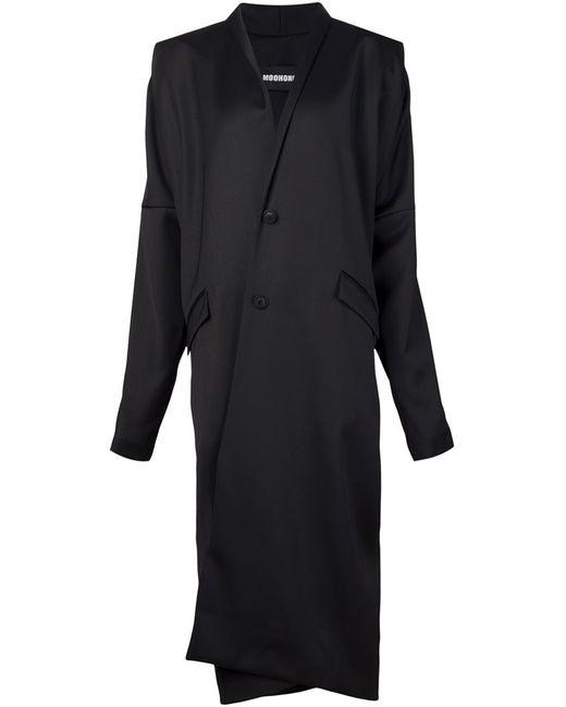 MOOHONG | Женское Чёрное Длинное Драпированное Пальто