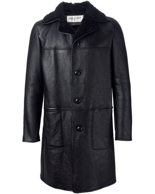 Saint Laurent | Мужское Чёрный Shearling Lined Overcoat