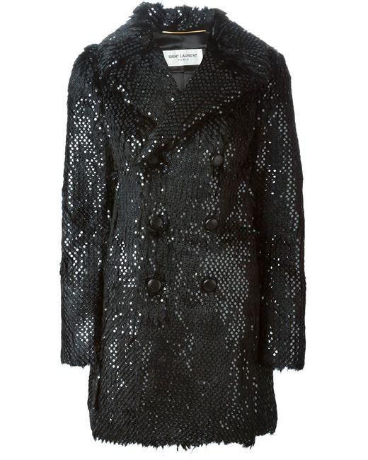 Saint Laurent   Женское Чёрное Меховое Пальто С Пайетками