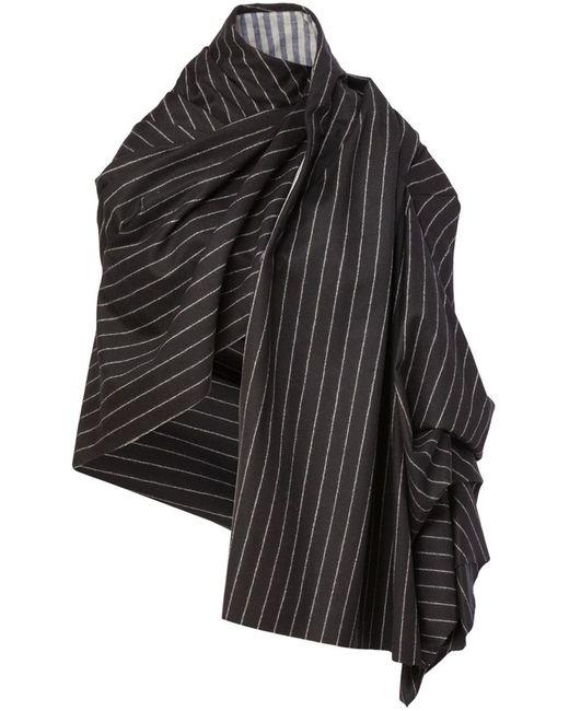 AGANOVICH   Женское Чёрное Полосатое Пальто-Плед