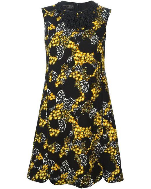 Giambattista Valli | Женское Чёрное Платье С Декорированным Воротником И Принтом