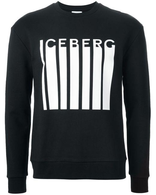 ICEBERG | Мужская Чёрная Толстовка С Принтом Логотипа