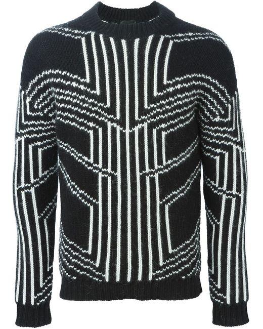 Les Hommes | Мужское Чёрный Intarsia Geometric Sweater