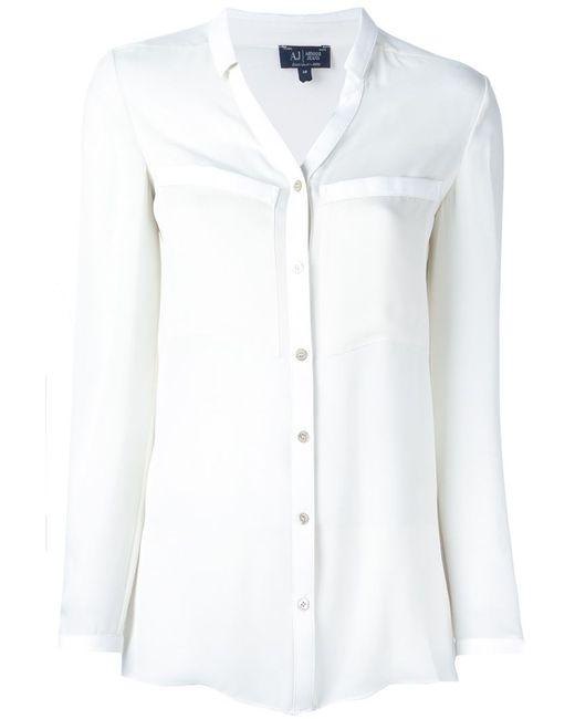 ARMANI JEANS | Женская Белая Блузка С Нагрудными Карманами