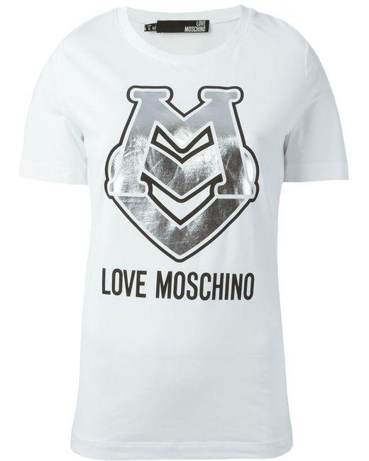 Love Moschino | Женская Белая Футболка С Блестящим Принтом