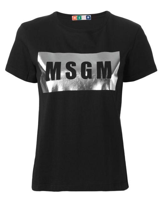 MSGM | Женская Чёрная Футболка С Принтом Логотипа
