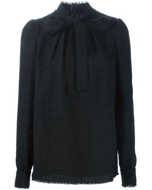 Dolce & Gabbana | Женская Чёрная Блузка С Завязкой На Мягкий Бант